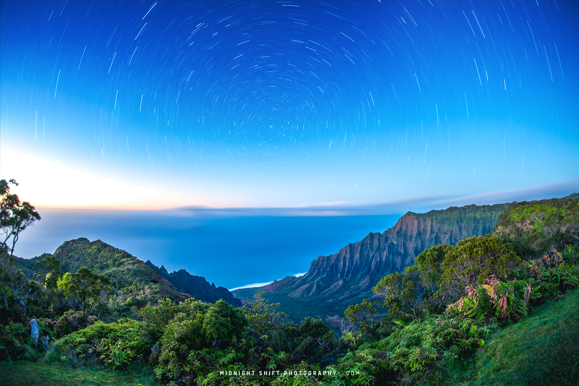 Star trails I captured at Kalalau Lookout on the island of Kauai, Hawaii.