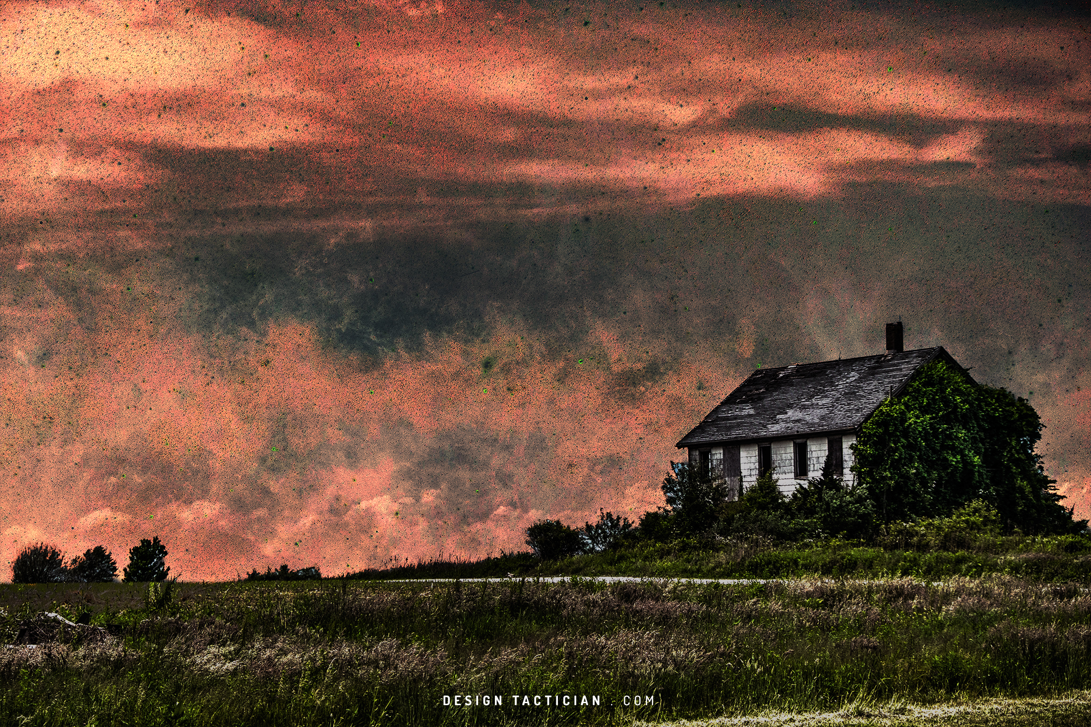 A manipulation using a photo of an abandoned house and the milky way