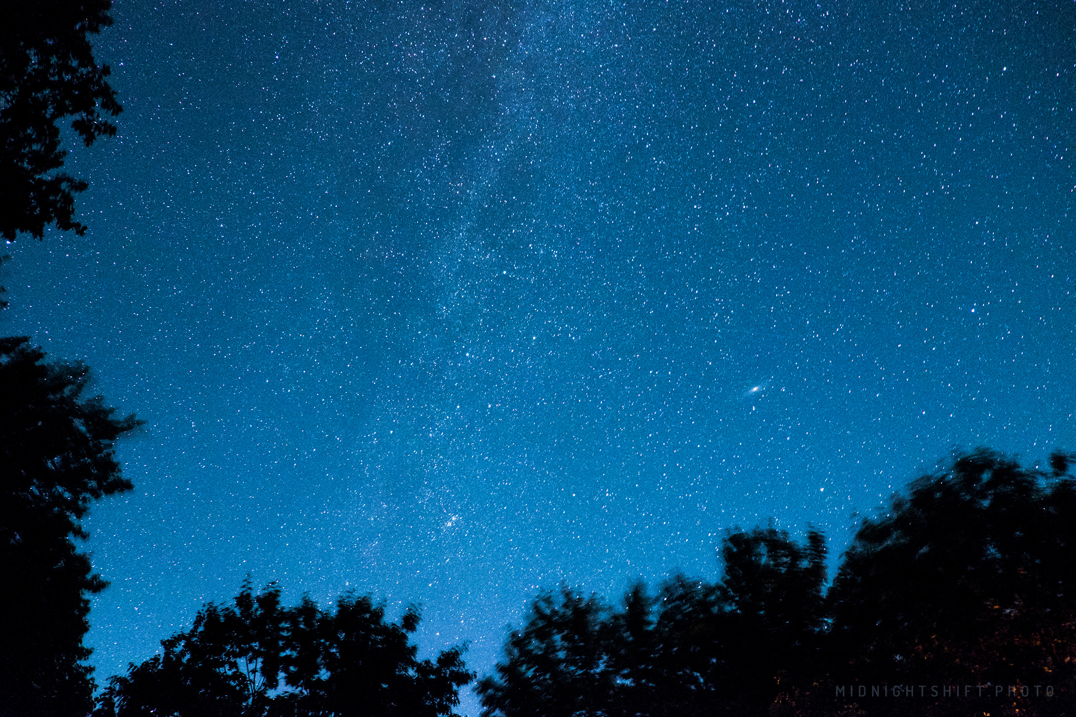 Stars shine bright above the deep woods of Brownfield, Maine.