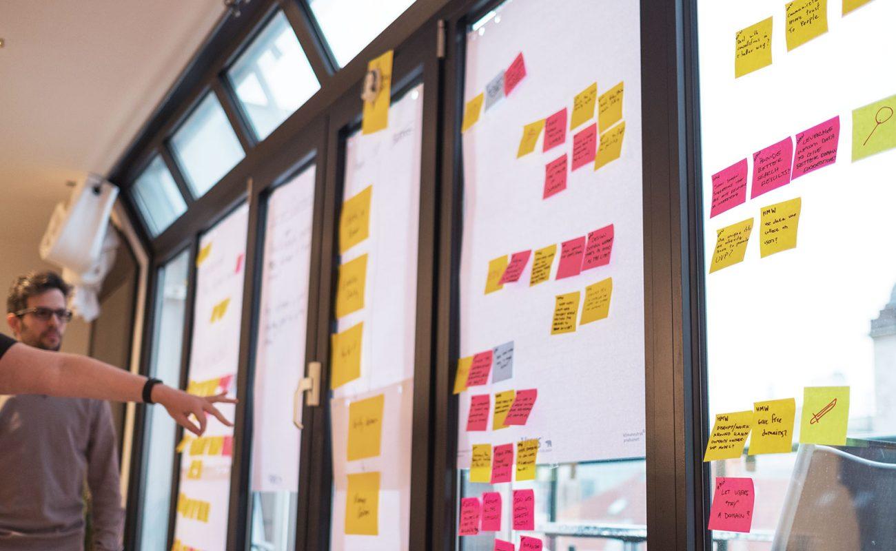 Designers at Automattic planning a design sprint. Photo by Luca Sartoni